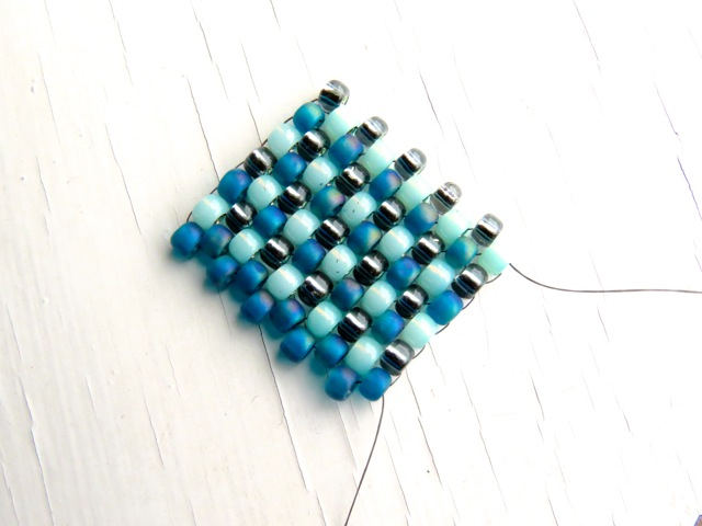 White and Teal Blue Peyote Stitch Bead Earrings