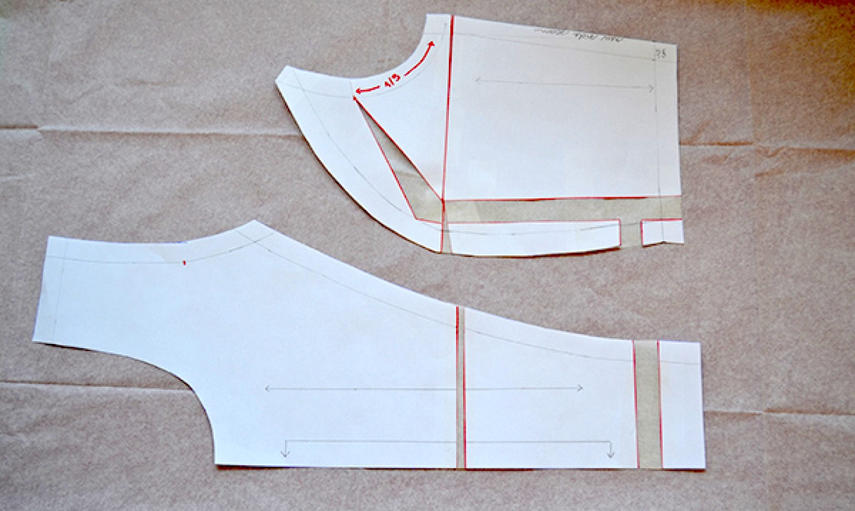 full bust adjustment princess seam pattern pieces