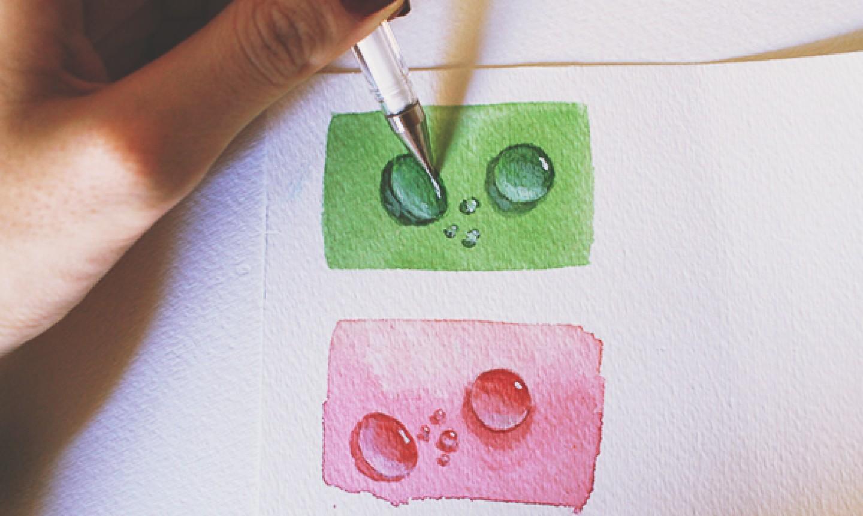 white gel pen on water drop painting