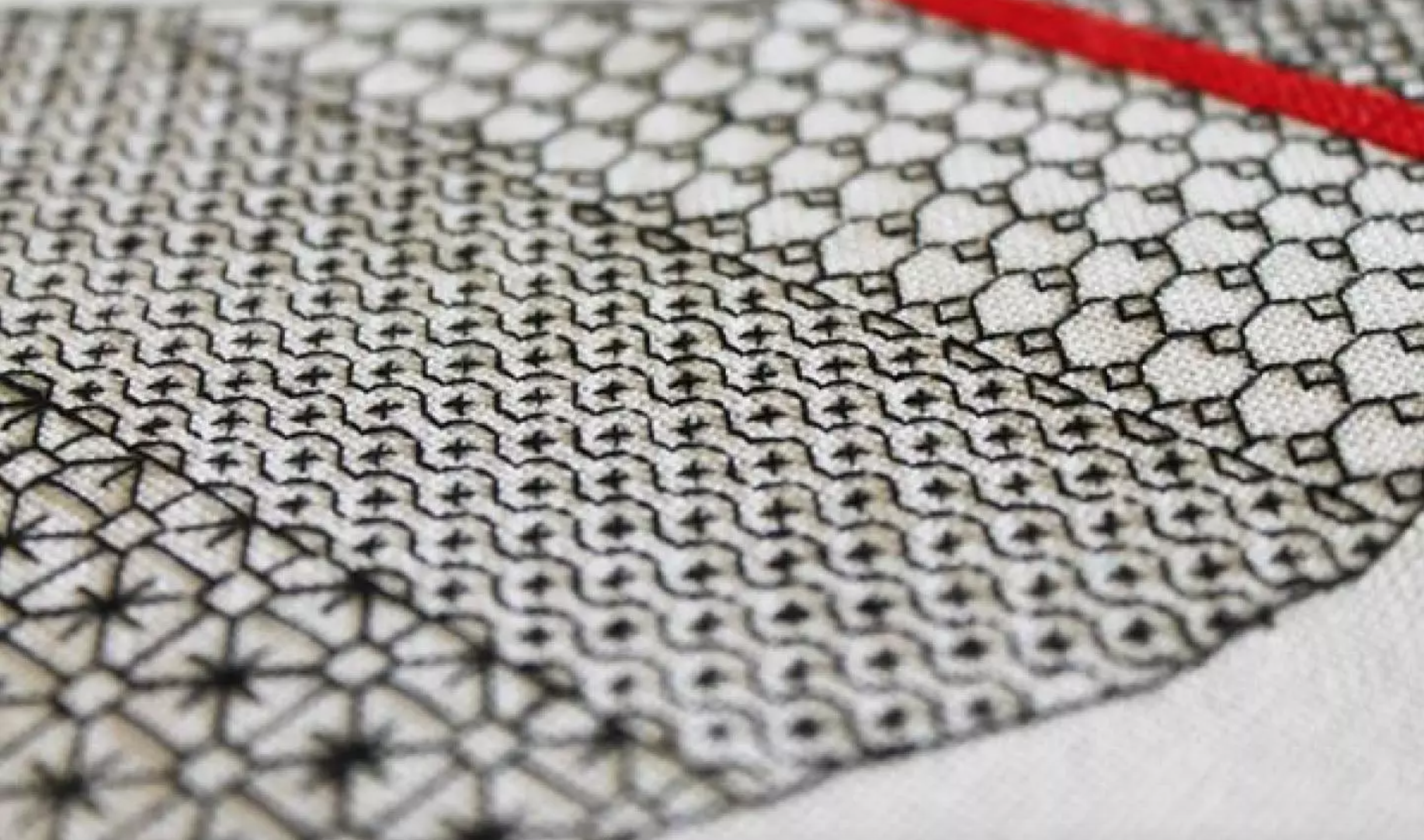 detail shot of blackwork embroidery