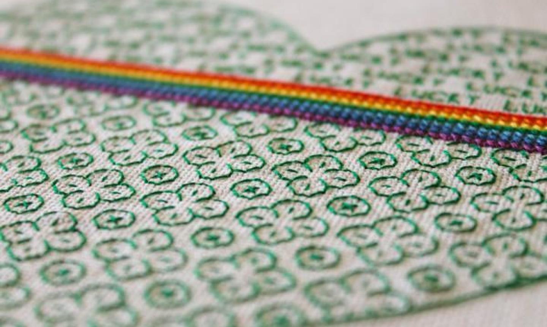 green and rainbow blackwork embroidery