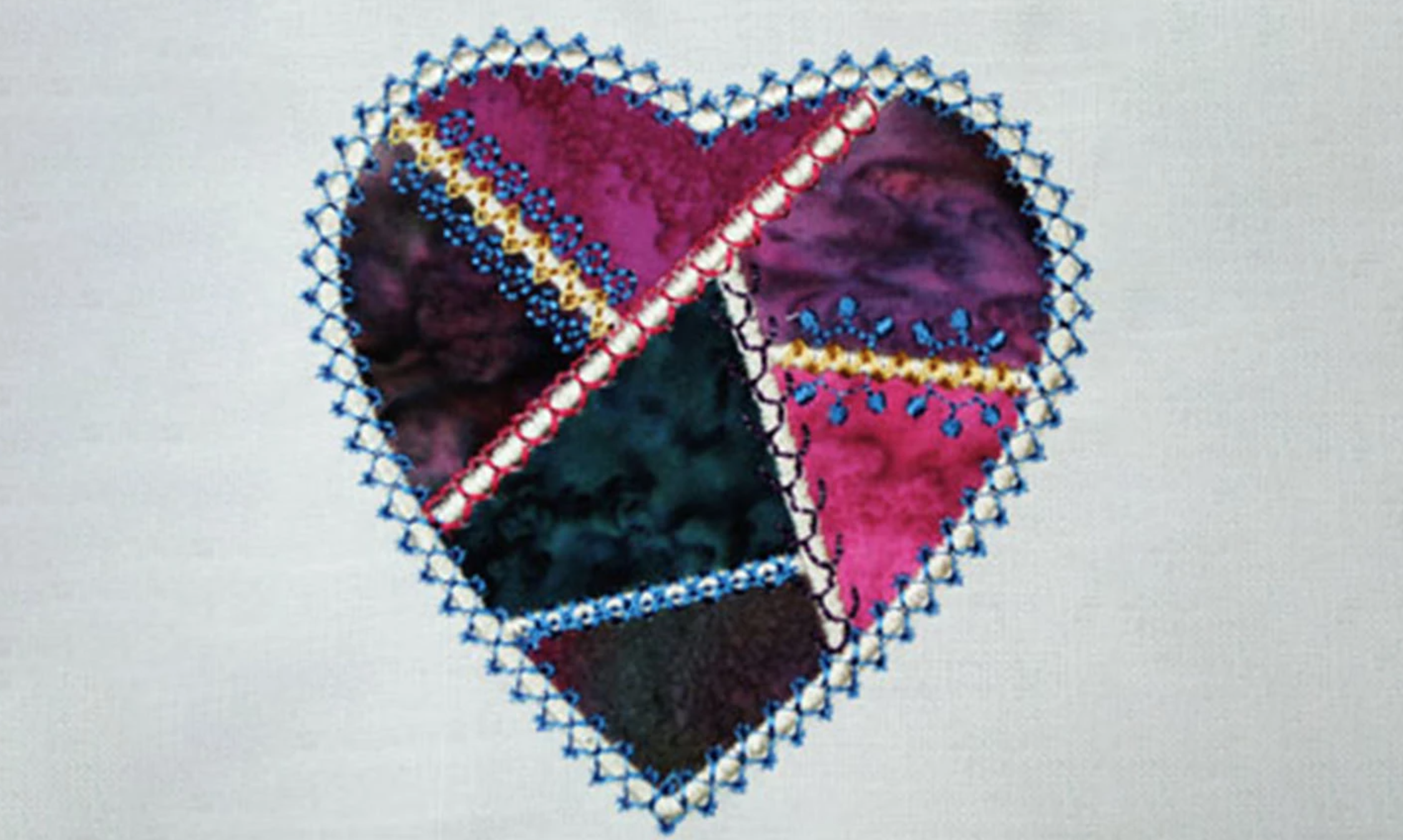 crazy embroidered heart