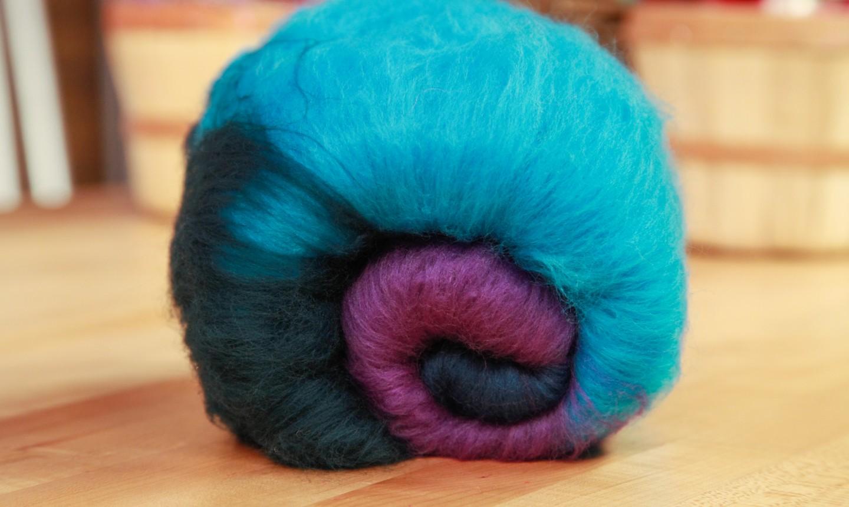 blue and purple carded batt