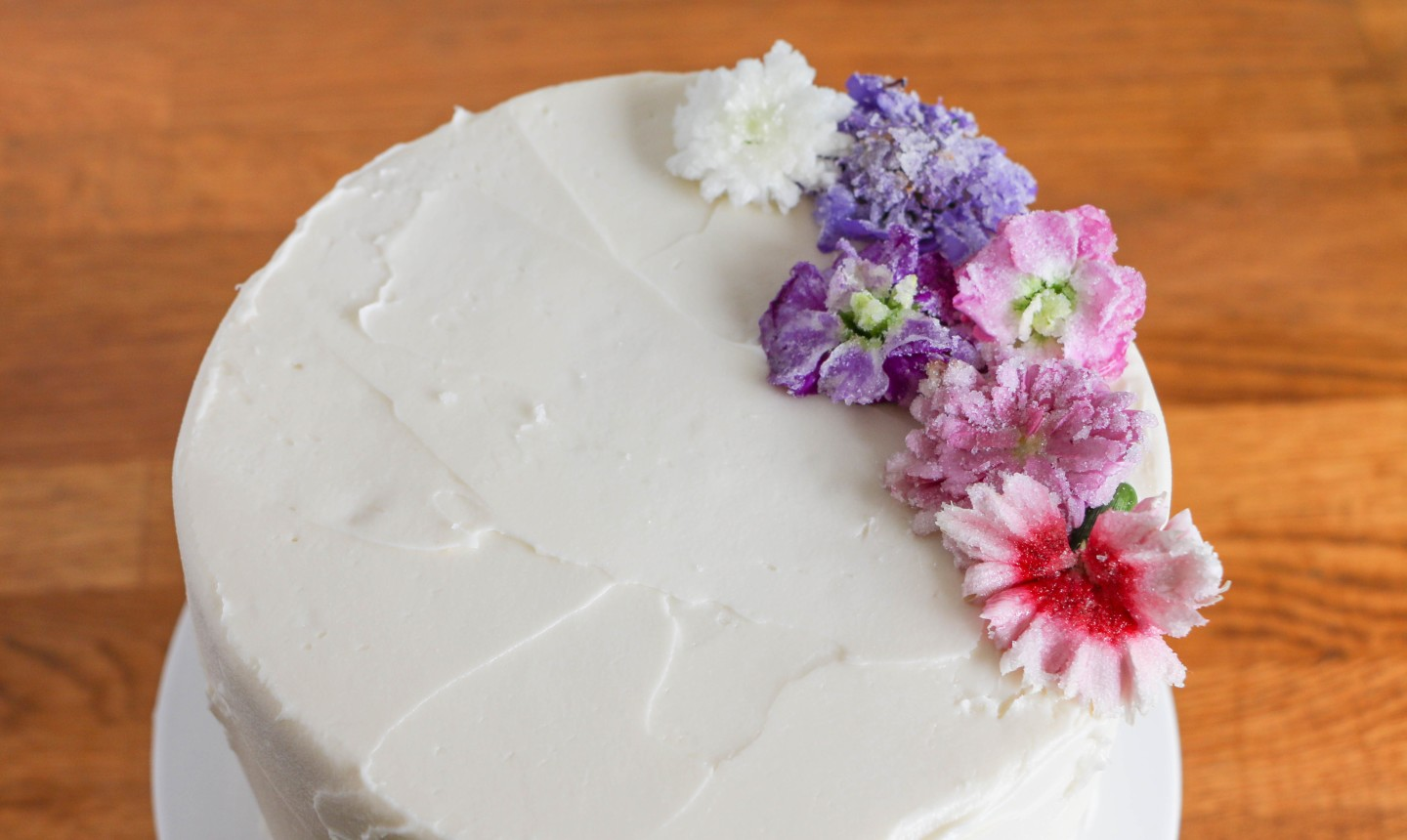 cake with candied flowers