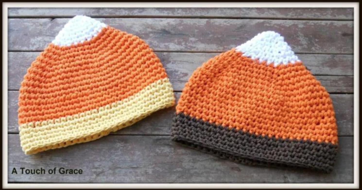 crochet candy corn hat