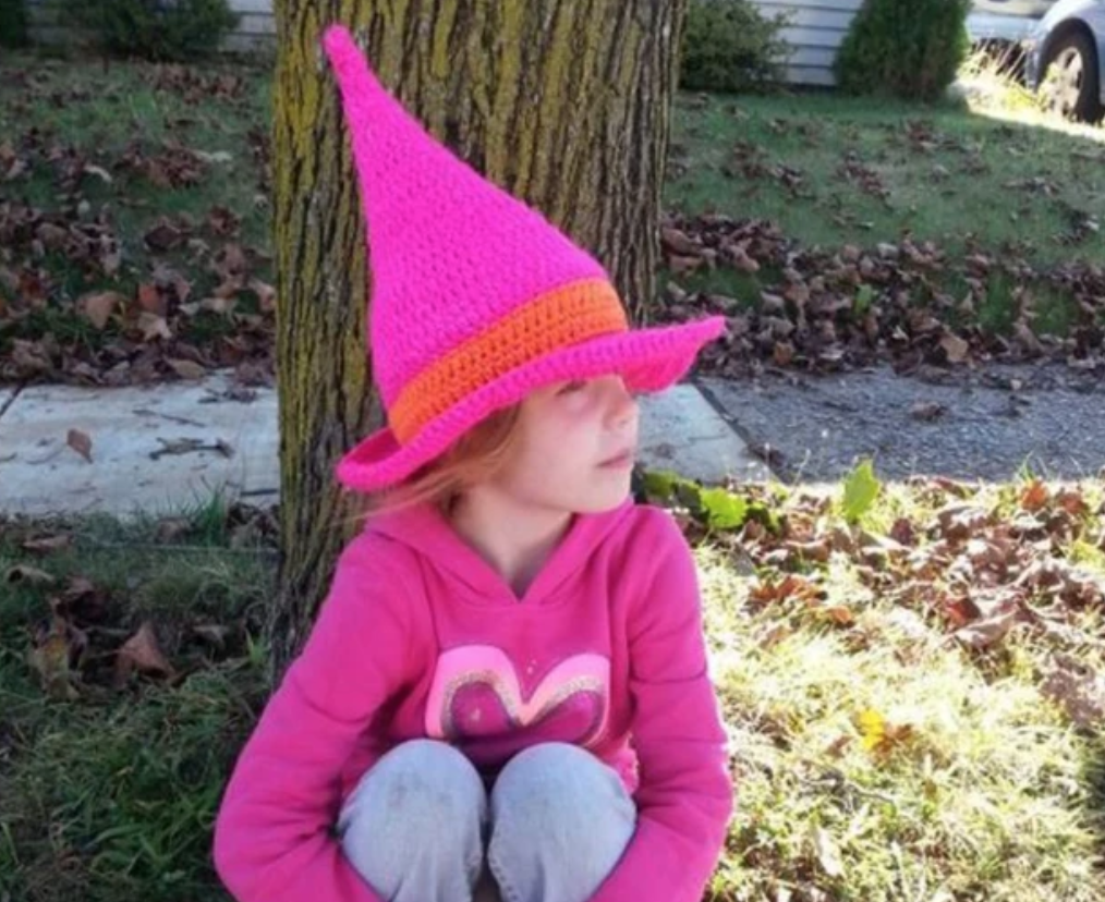 pink crochet witch hat