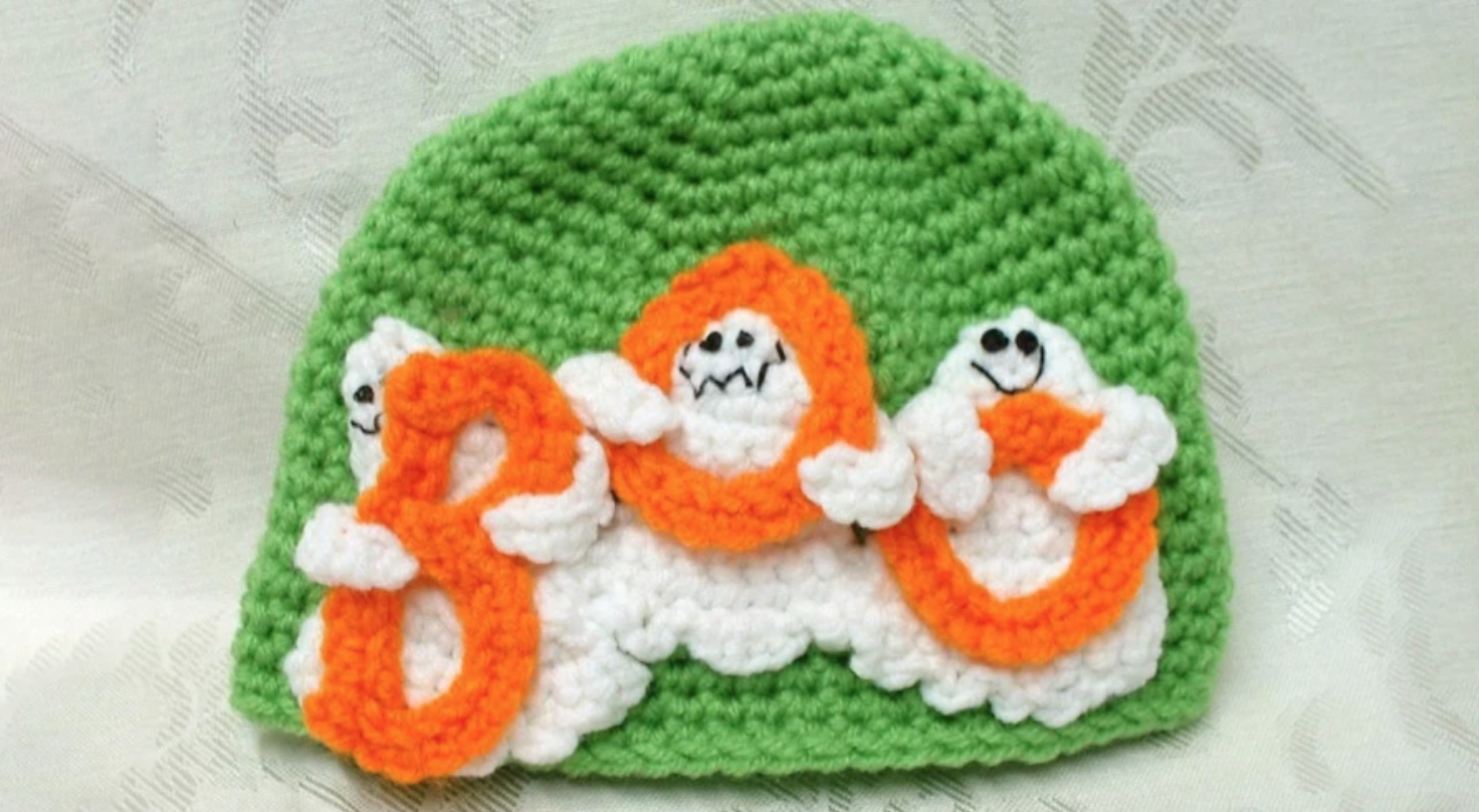 green crochet ghost hat