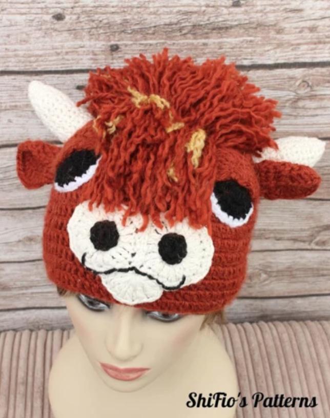 crochet highland cow hat