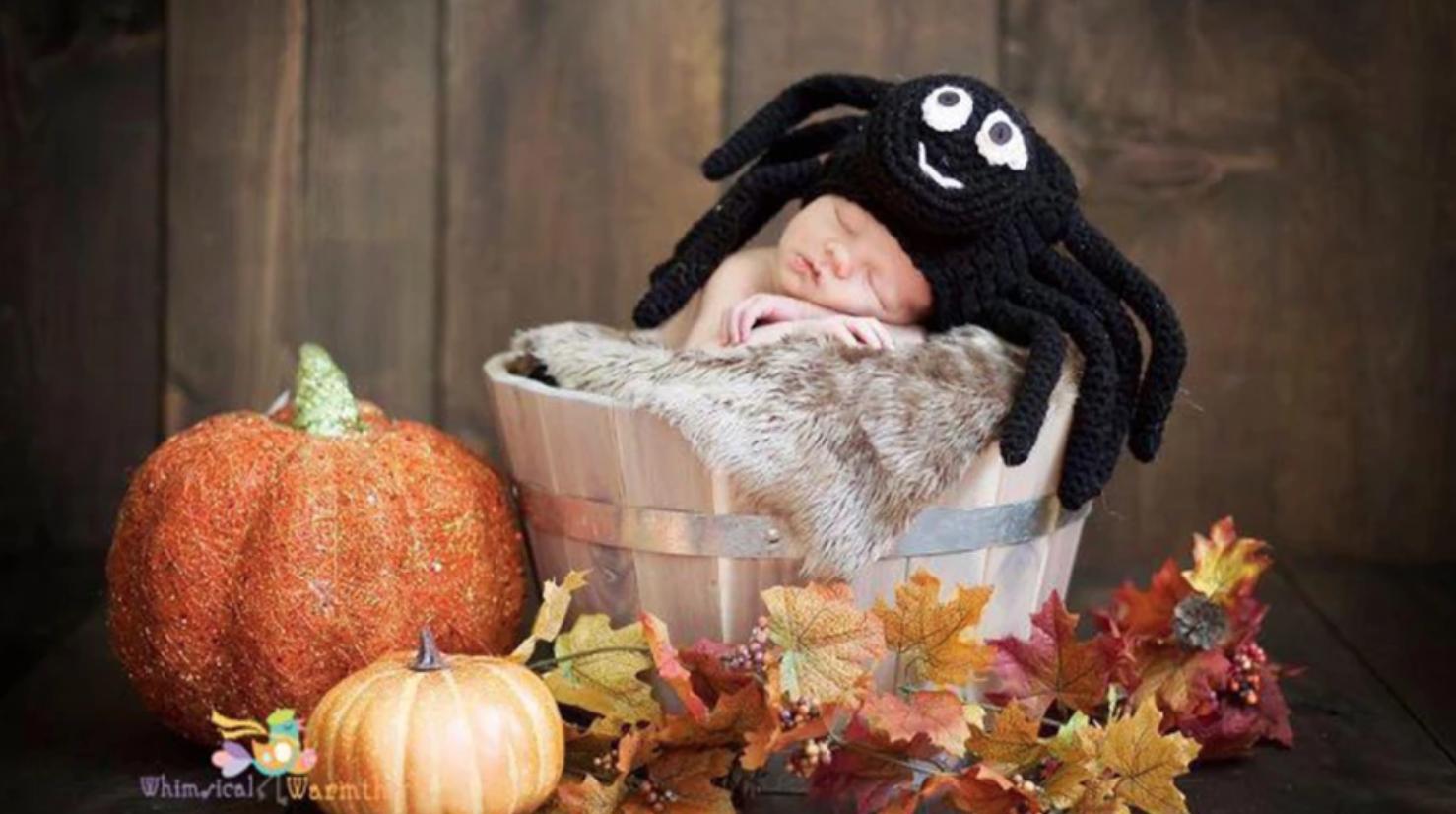 baby wearing crochet spider hat