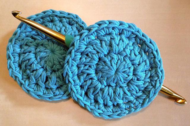 round blue crochet scrubbies