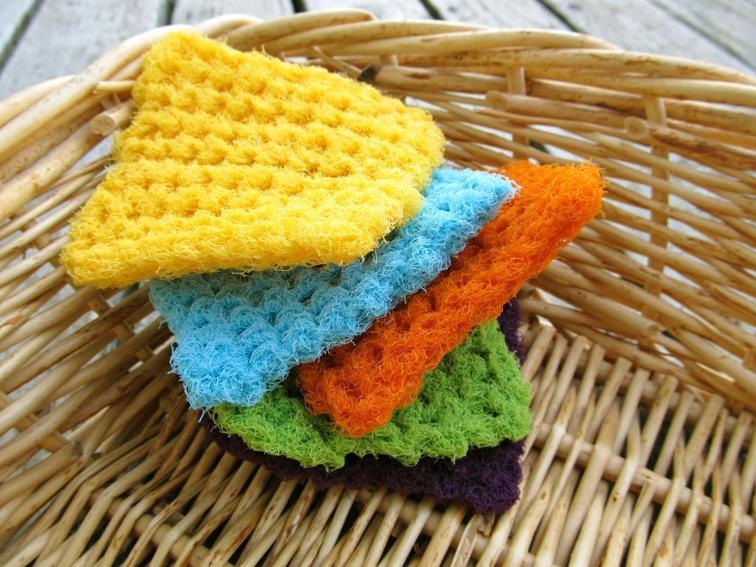 crochet colorful scrubbing pads