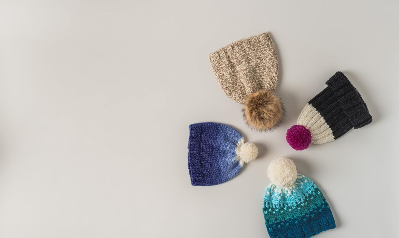 knit hats flat lay