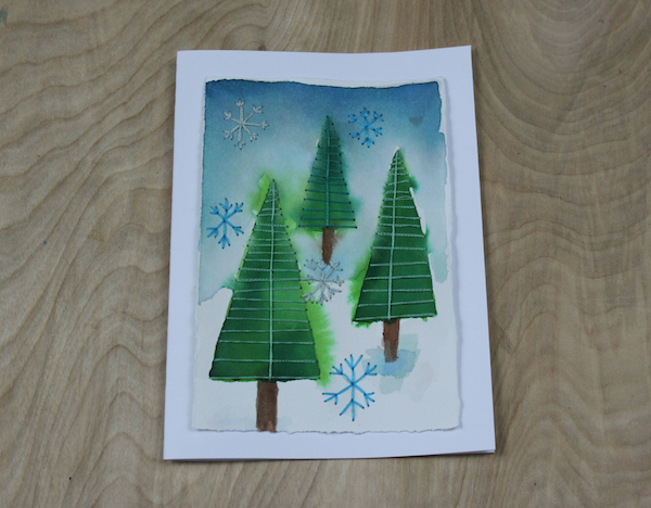 embroidered christmas painting