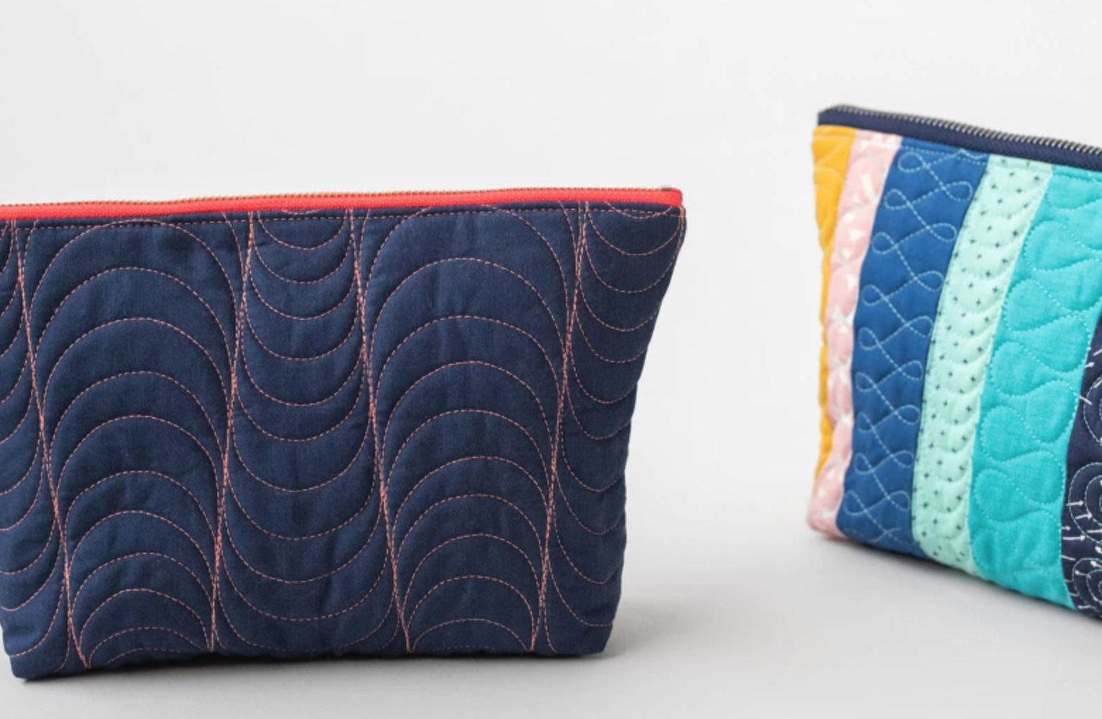 free-motion quilted pouch