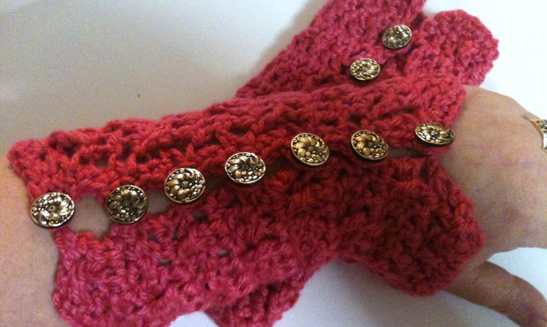 Red crochet wristlets