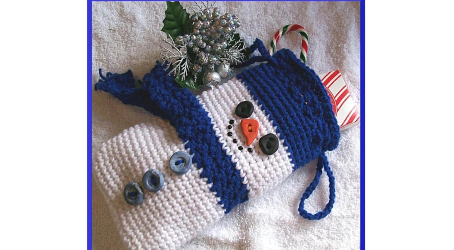 crochet snowman bag