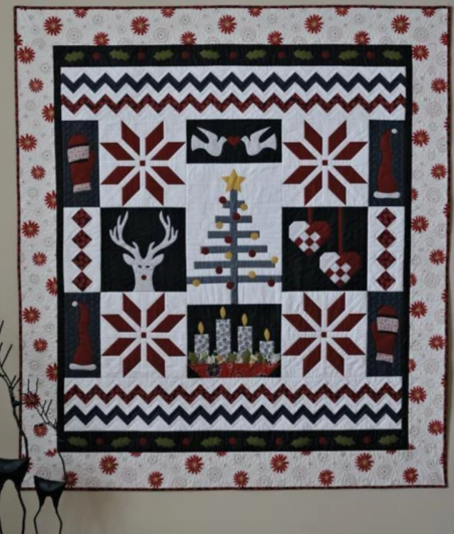 black and white nordic christmas quilt