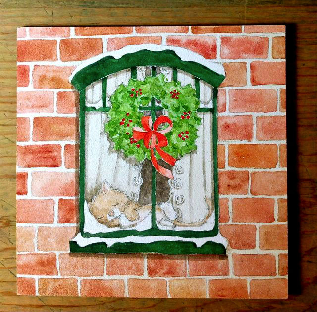 snowy painted window scene