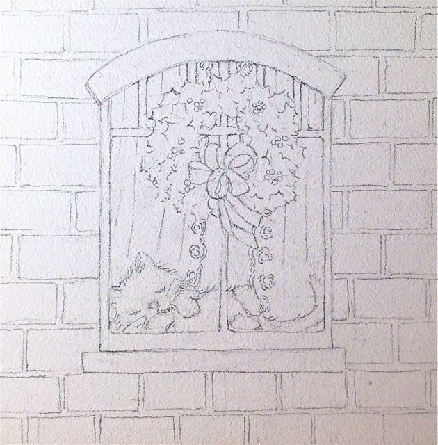 snowy window sketch