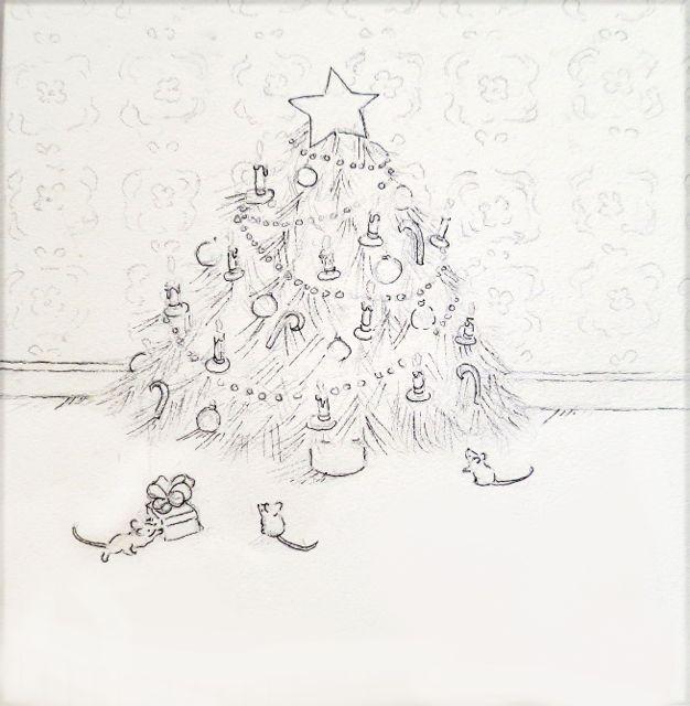 christmas tree pencil sketch