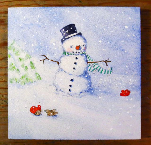 watercolor snowman painting