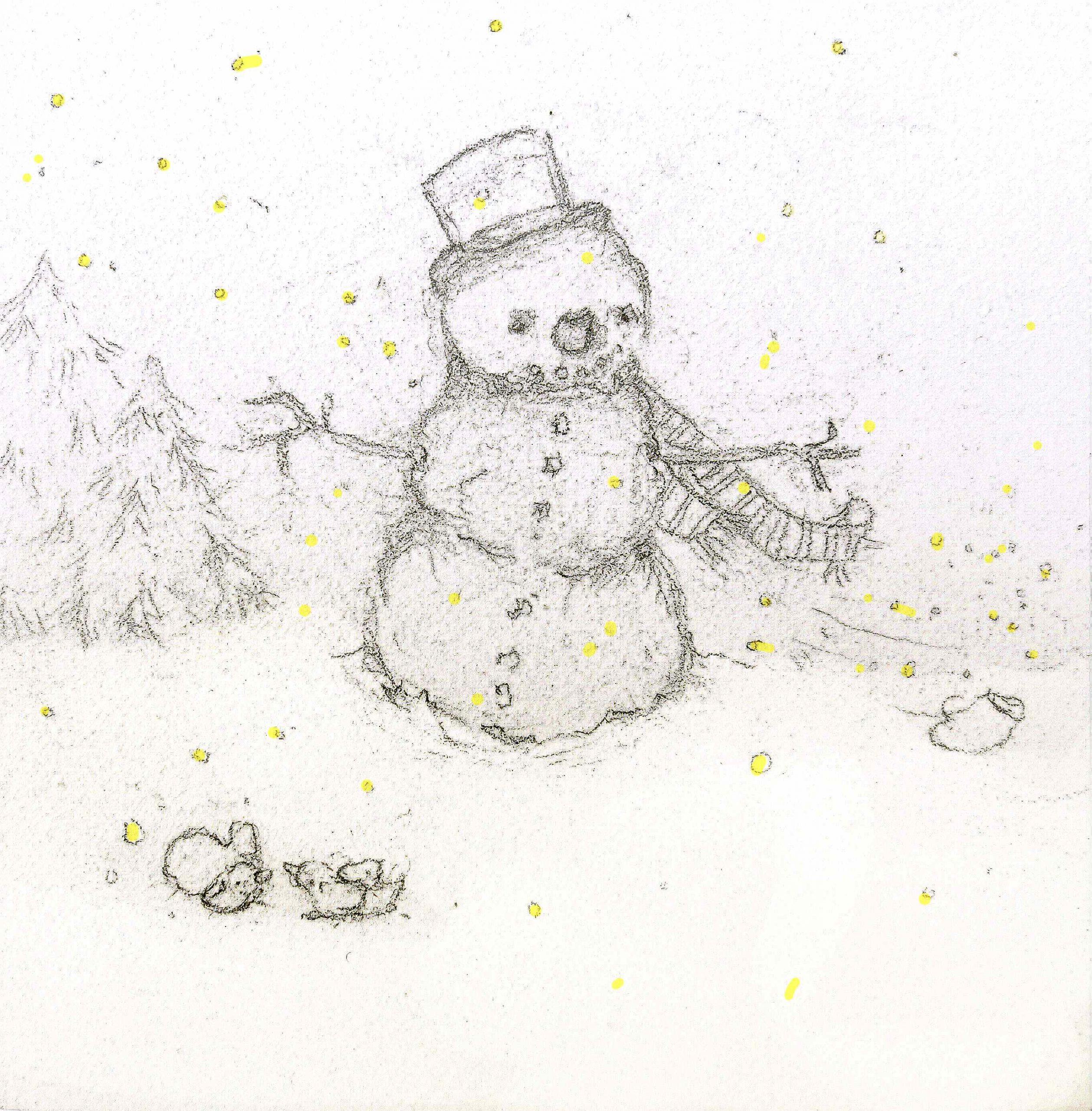 watercolor snowman sketch