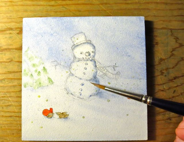 painting watercolor snowman