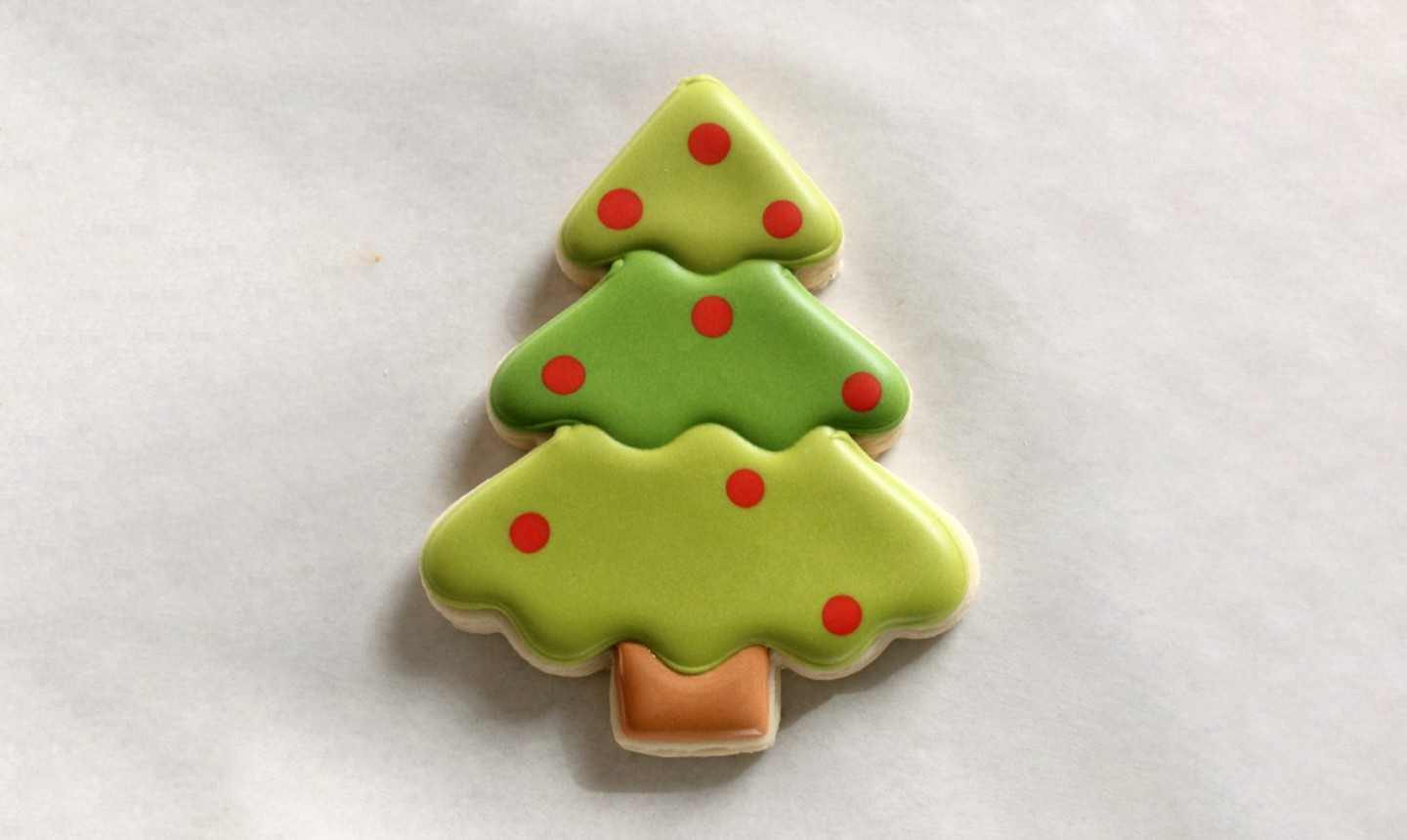 flooded christmas tree cookies