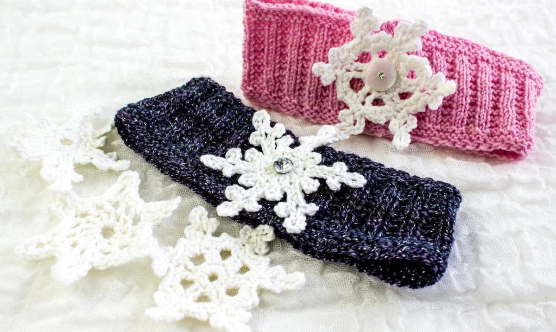 snowflake knit headband