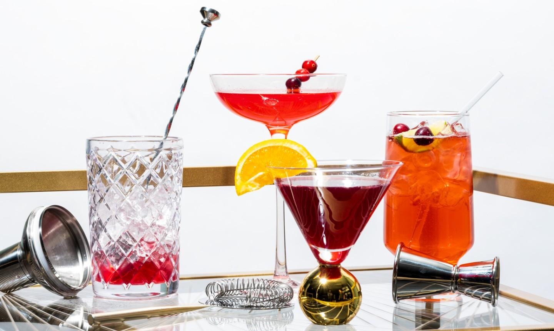 three cranberry cocktails