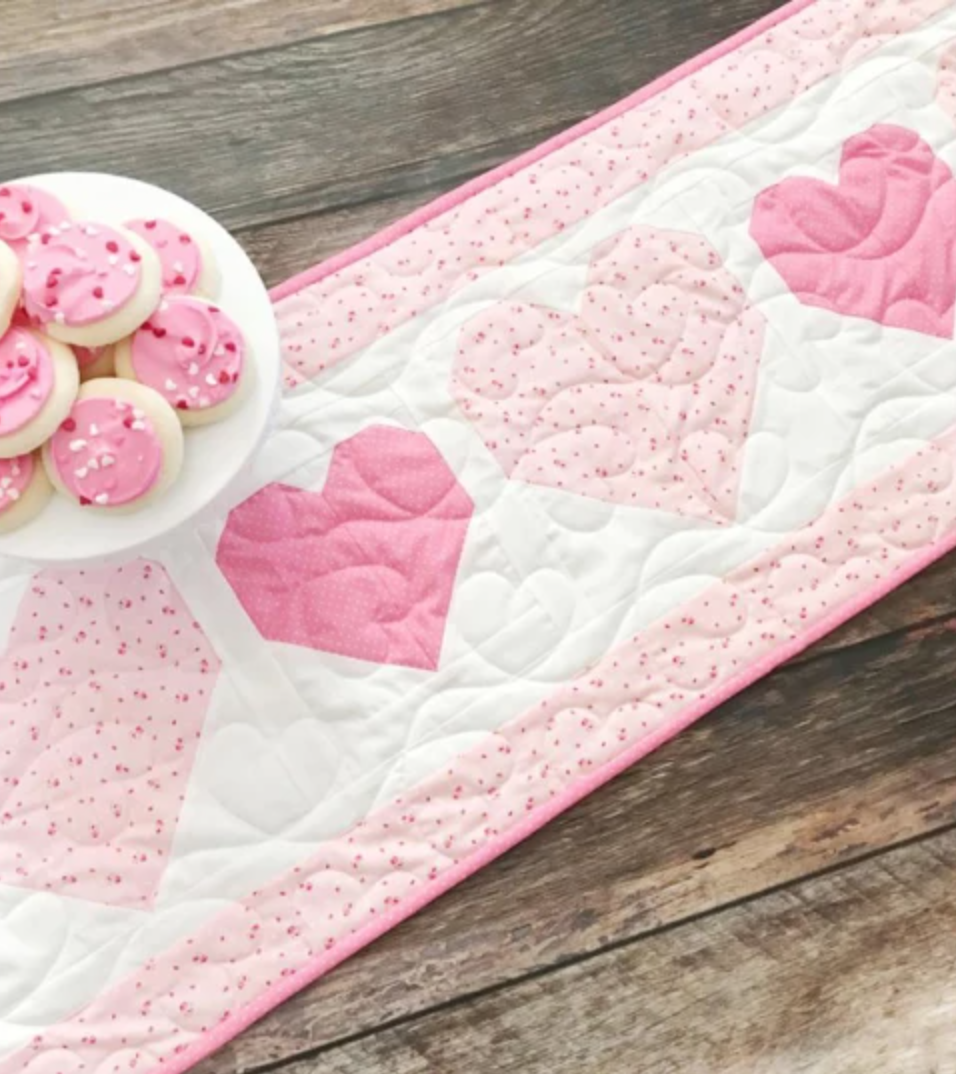 pale pink heart table runner