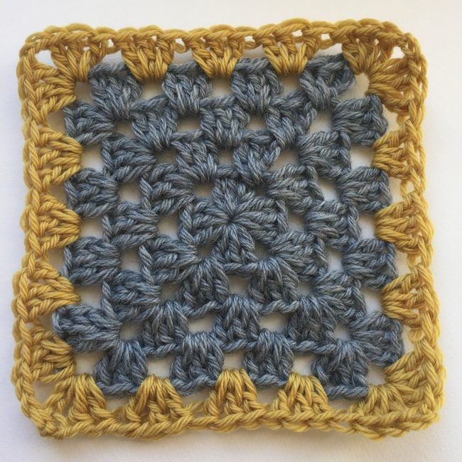 gray and yellow granny square