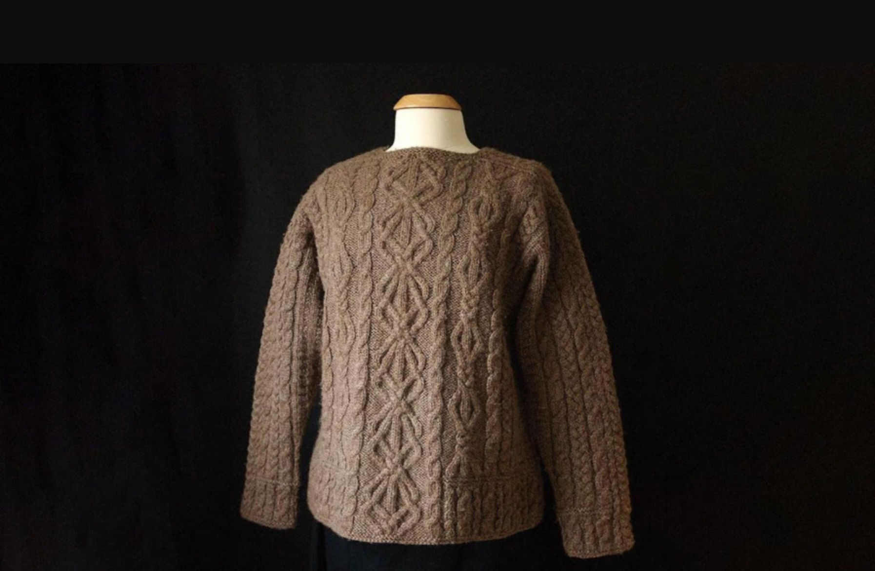 aran cables brown knit pullover