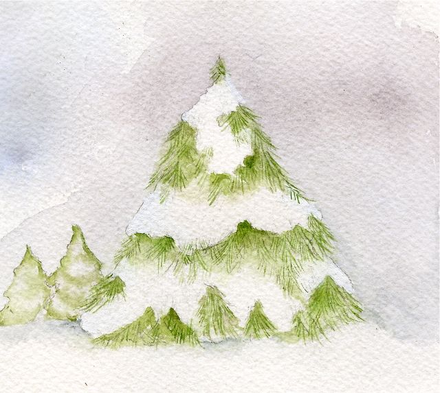 watercolor snow covered pine tree