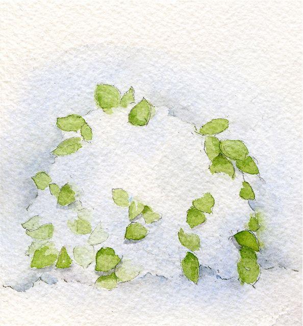 watercolor snow-covered bush