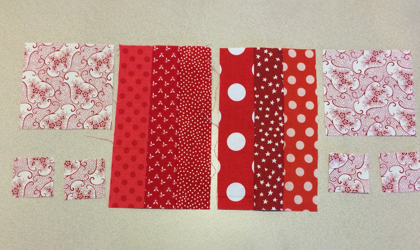 heart block fabric strips