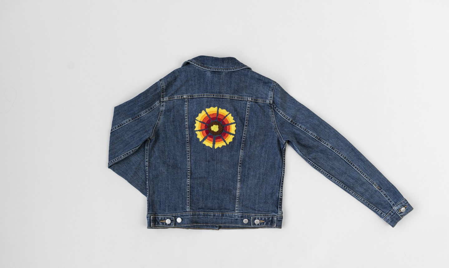 jean jacket with embroidered back