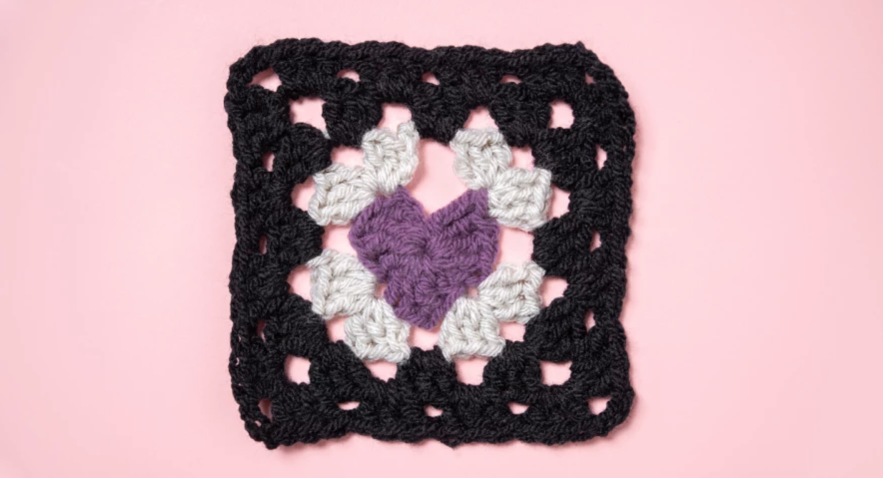granny square with heart center