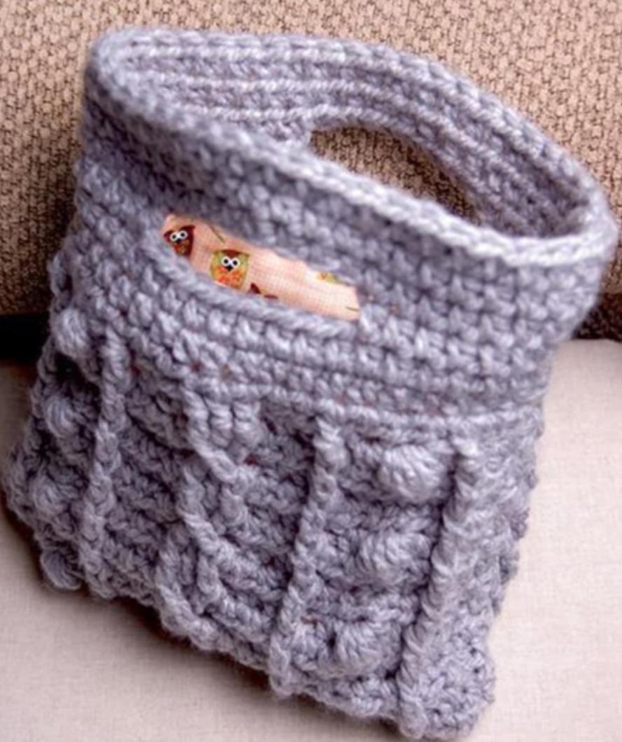crochet bobble clutch
