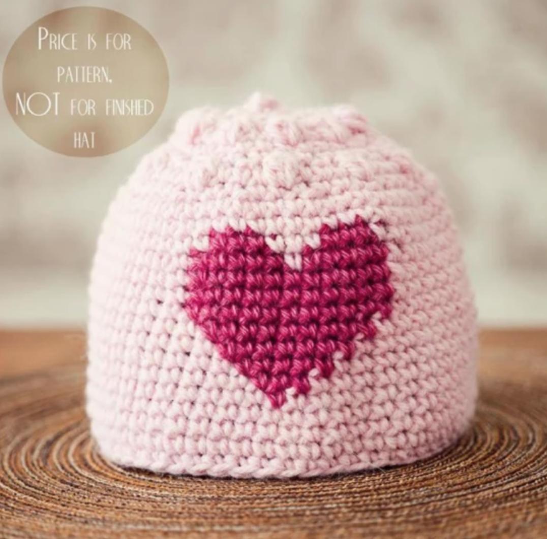 crochet heart bobble hat
