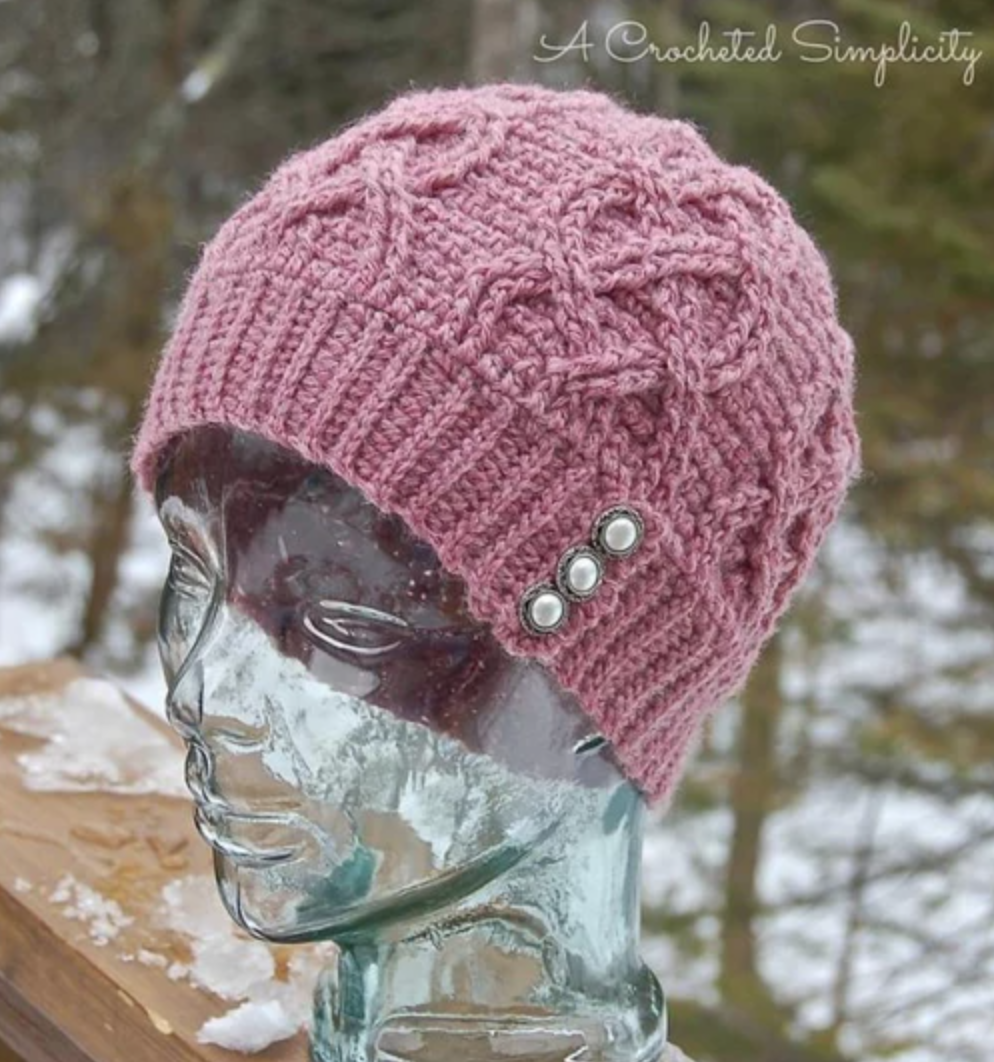 crochet cable hearts beanie