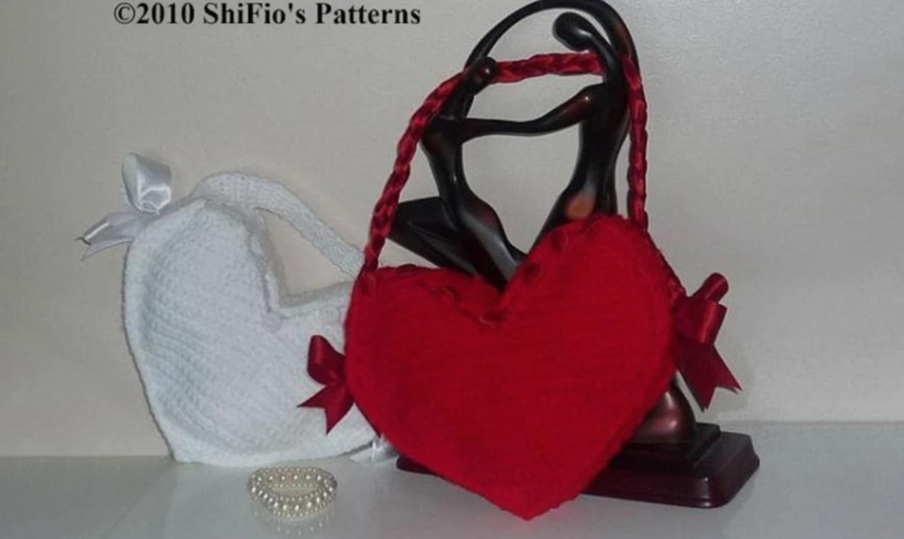 crochet heart bag
