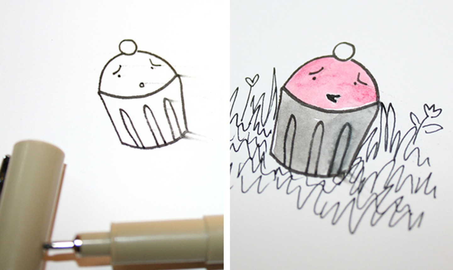 smeared drawing of cupcake
