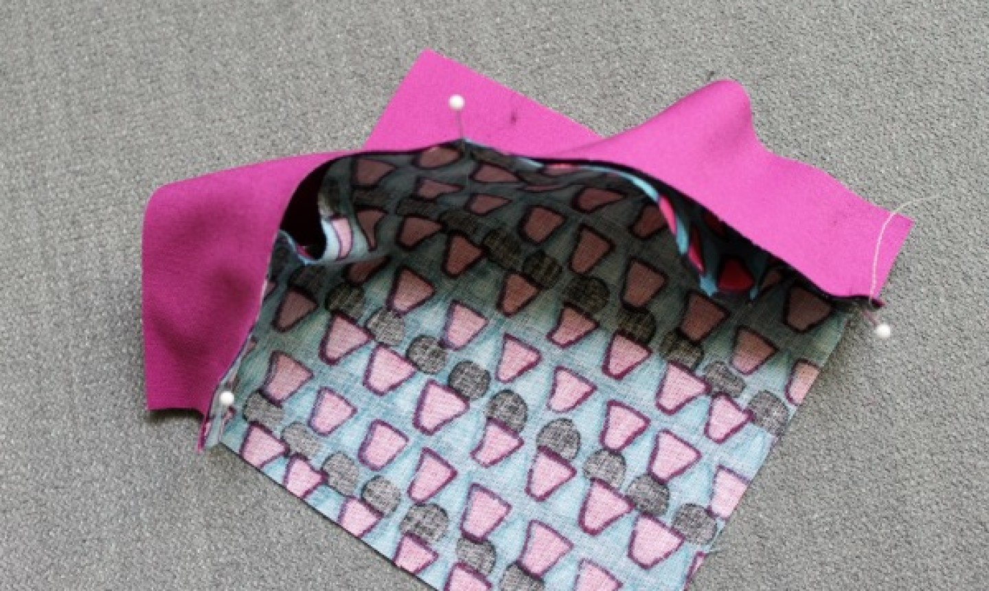 piecing two curved fabric pieces together