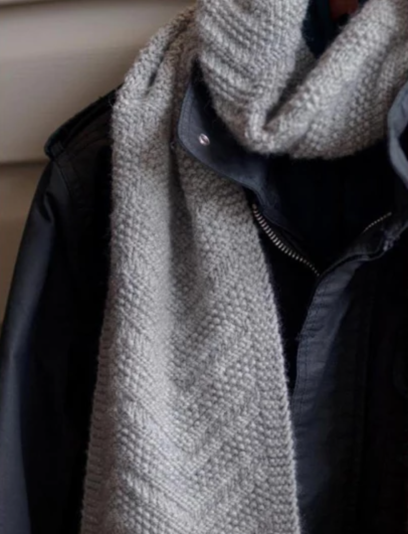 knit gray scarf