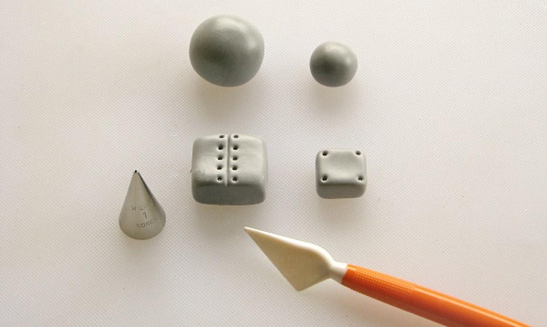 silver fondant shapes