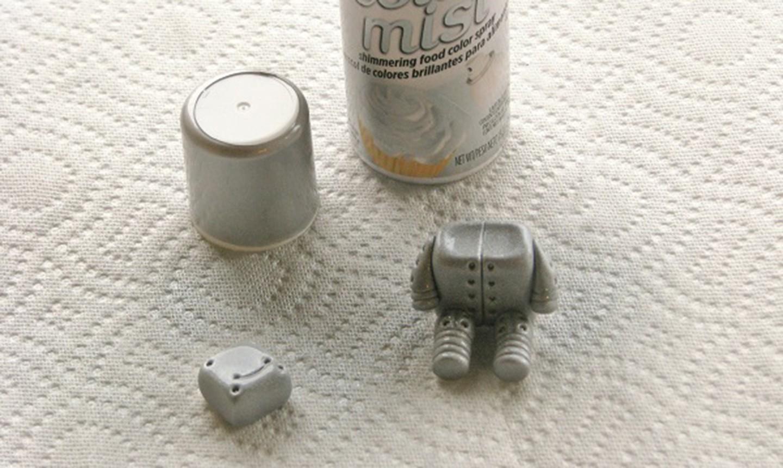 shiny silver fondant robot