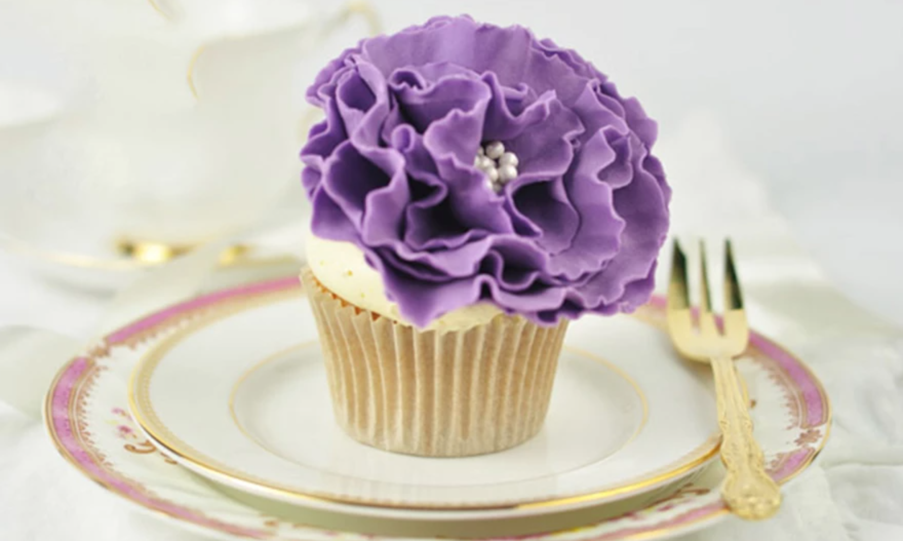 ruffled purple fondant flower