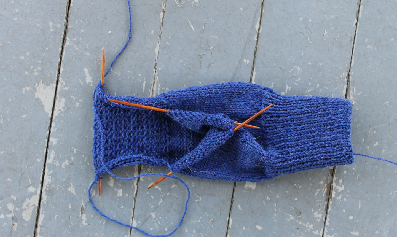 knit sock heel wip