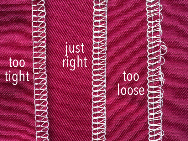 Maroon cloth with serger stitch examples